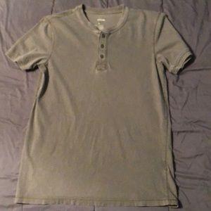 Green button up t-shirt. 100% cotton